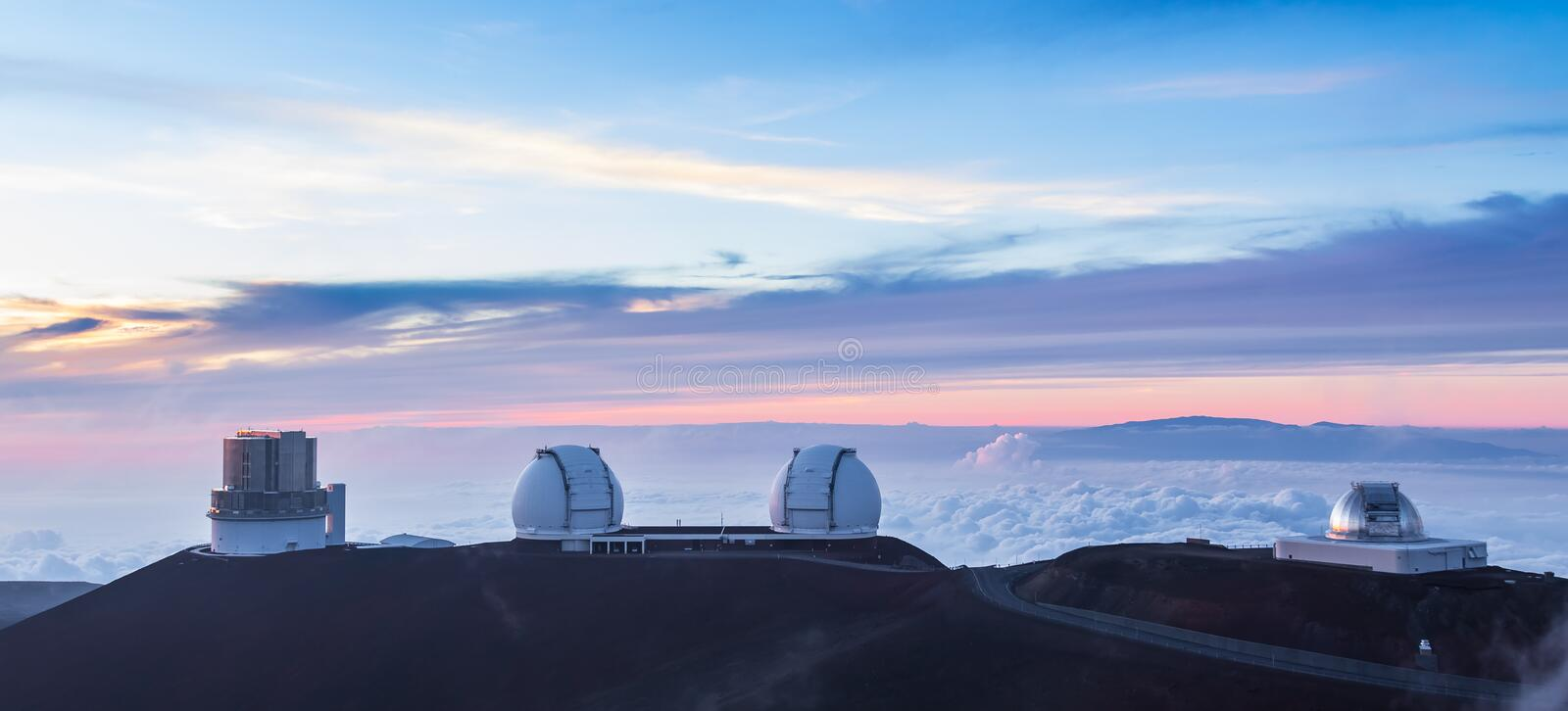 Four observatories at sunset, Hawaii royalty free stock photo