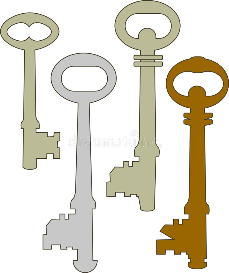 Four old keys, devices for a lock. Old devices for a lock, for home, lock and unlock symbol for securuty vector illustration