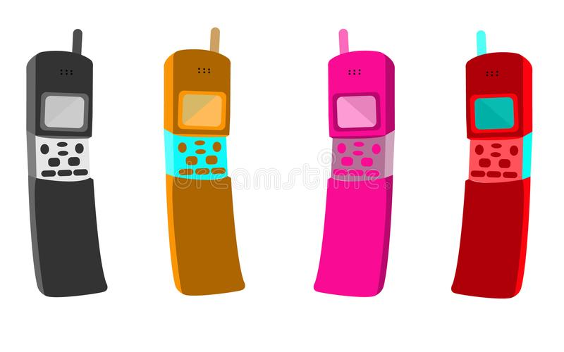 Four old multicolored button retro hipster vintage mobile phones with an antenna in a slider form factor, a clamshell.  stock illustration