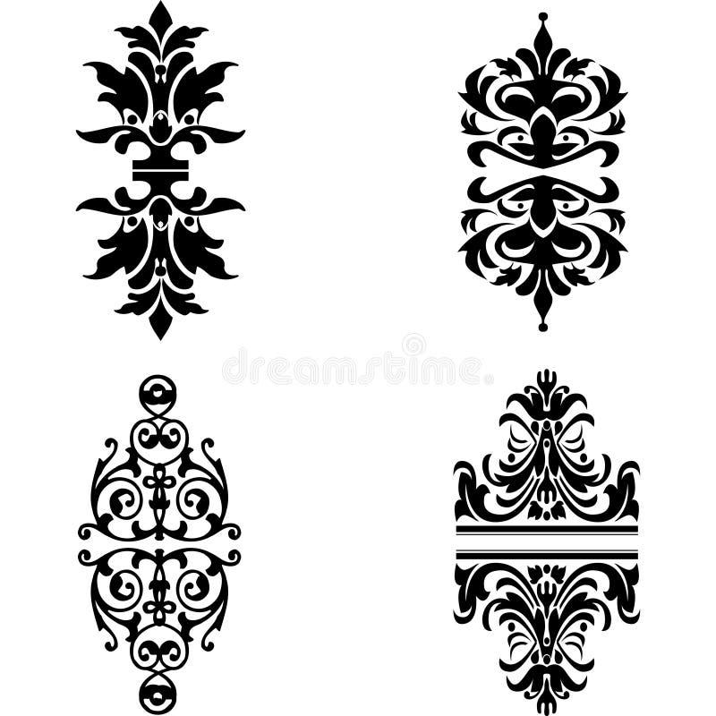 Four Ornate Design Elements stock illustration