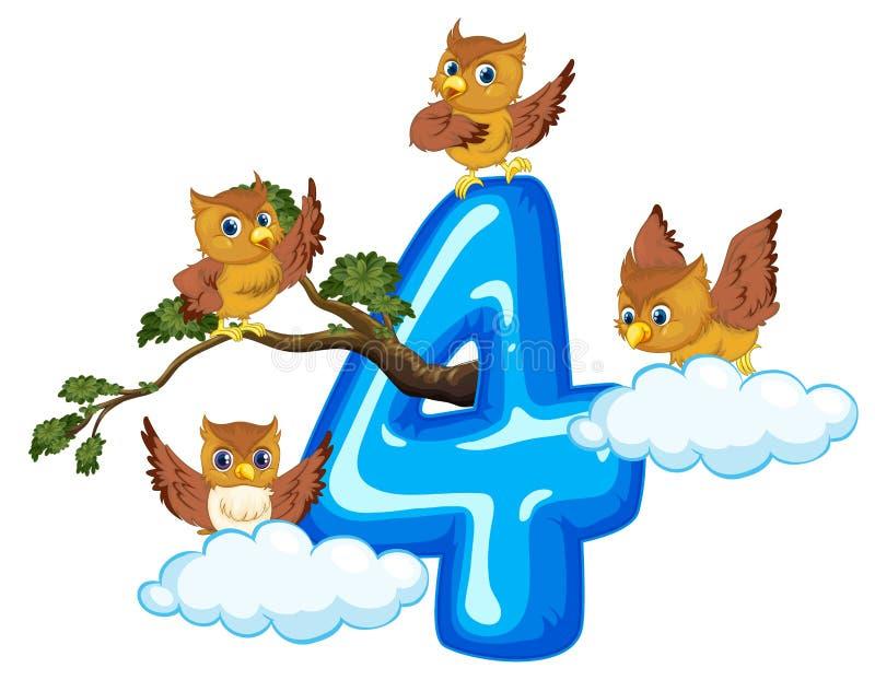 Four owl on number four. Illustration vector illustration