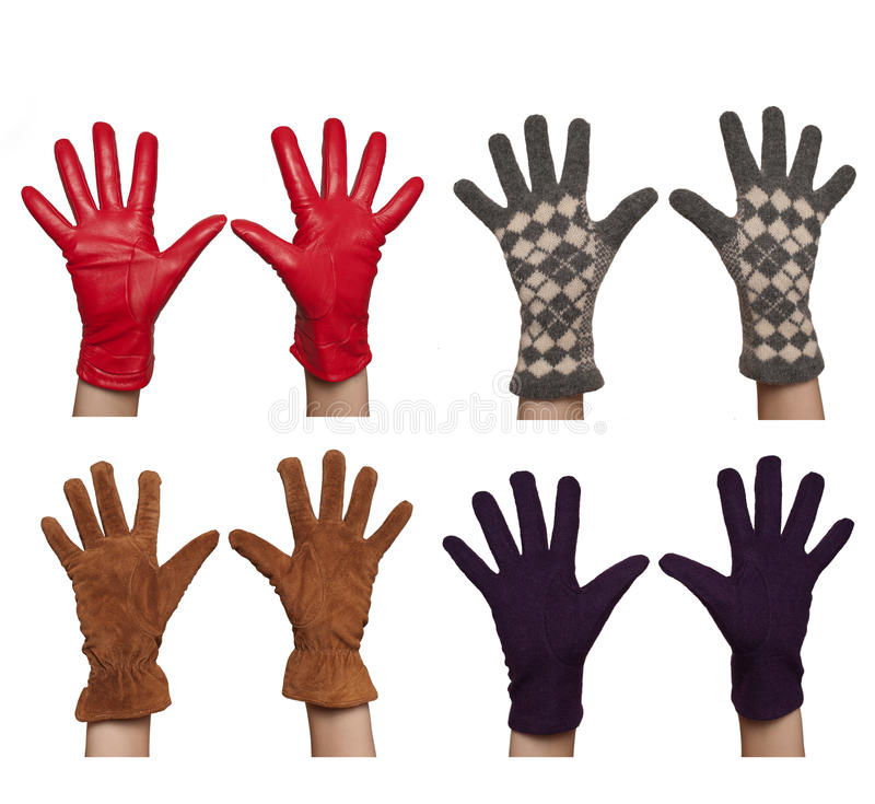 Four Pairs Of Diffrent Women`s Gloves Royalty Free Stock Photo