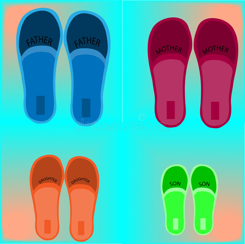 Four pairs of shoes stock images