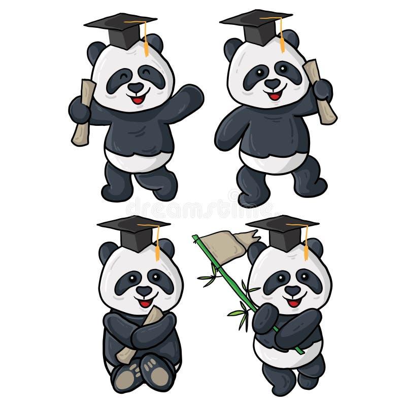 Four panda graduation illustrations stock illustration