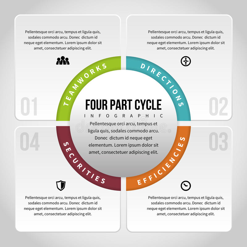 Four Part Cycle Infographic. Vector illustration of four part cycle infographic design element stock illustration