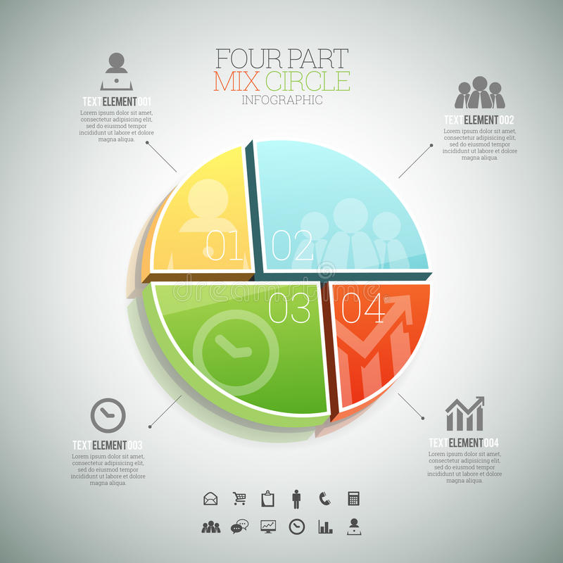 Four Part Mix Circle Infographic. Vector illustration of four part mix circle infographic elements royalty free illustration