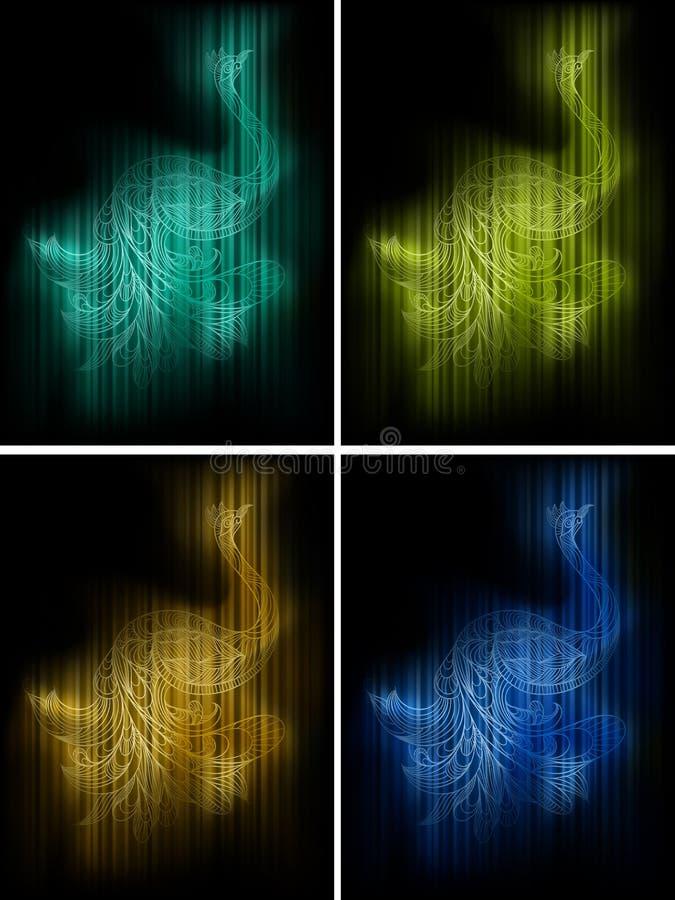 Four peacocks vector illustration