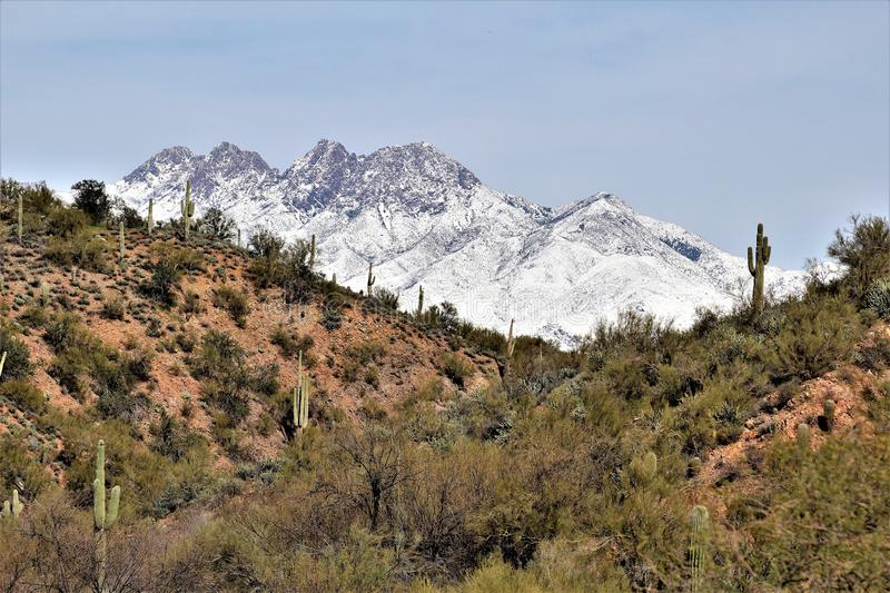 Four Peaks Mountain in, Tonto National Forest, Arizona, United States. Rare scenic snow landscape view of the Four Peaks Mountains in the Tonto National Forest stock image
