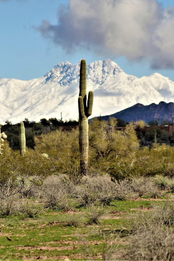 Four Peaks Mountain in, Tonto National Forest, Arizona, United States. Rare scenic snow landscape view of the Four Peaks Mountains in the Tonto National Forest stock images