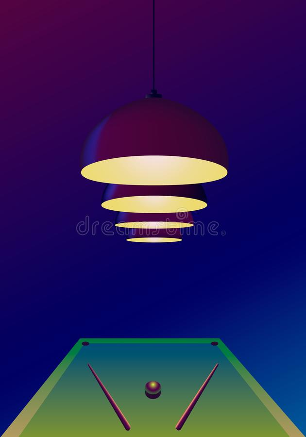 Four pendant burgundy lamps hang and shine over the pool table on which there are two cues and one ball. Billiard concept,. Template for an invitation to a vector illustration