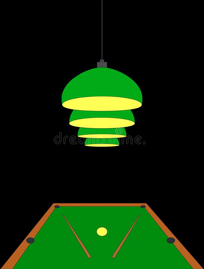Four pendant burgundy lamps hang and shine over the pool table on which there are two cues and one ball. Billiard concept,. Template for an invitation to a royalty free illustration
