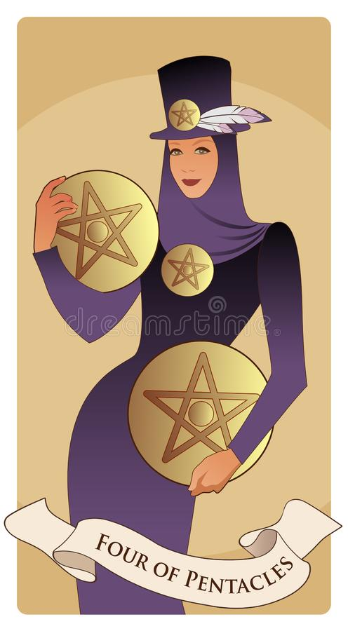Four of pentacles. Tarot cards. Beautiful and elegant rich woman, wearing hat with feathers and four golden pentacles vector illustration