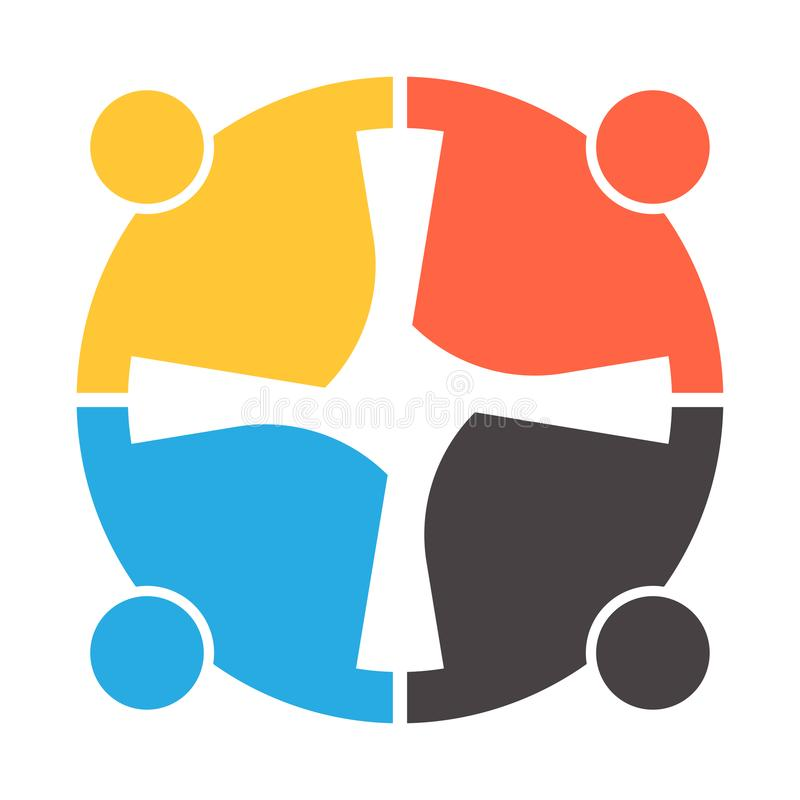 Four people in a circle holding hands.The summit workers are meeting in the same power room. stock illustration