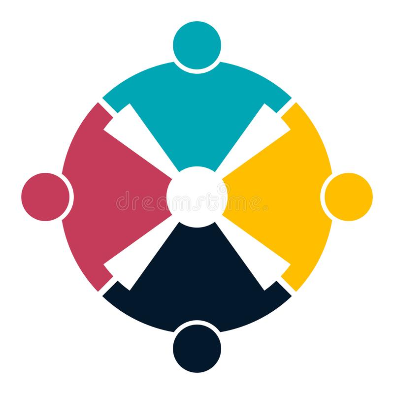 Four people in a circle holding hands.The summit workers are meeting in the same power room. royalty free illustration