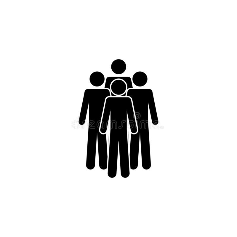 Four people, a group icon. Simple glyph, flat vector of People icons for UI and UX, website or mobile application stock illustration