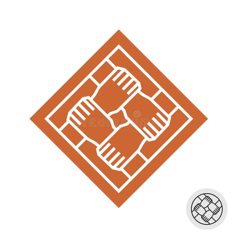 Four people hands teamwork square logo. vector illustration