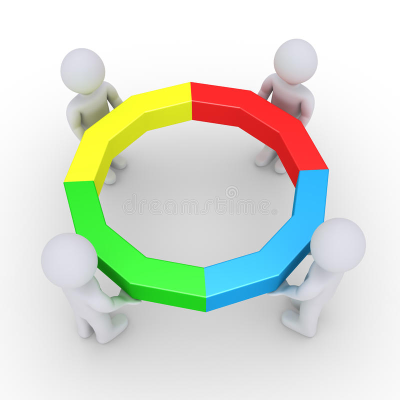 Four people holding completed circle vector illustration