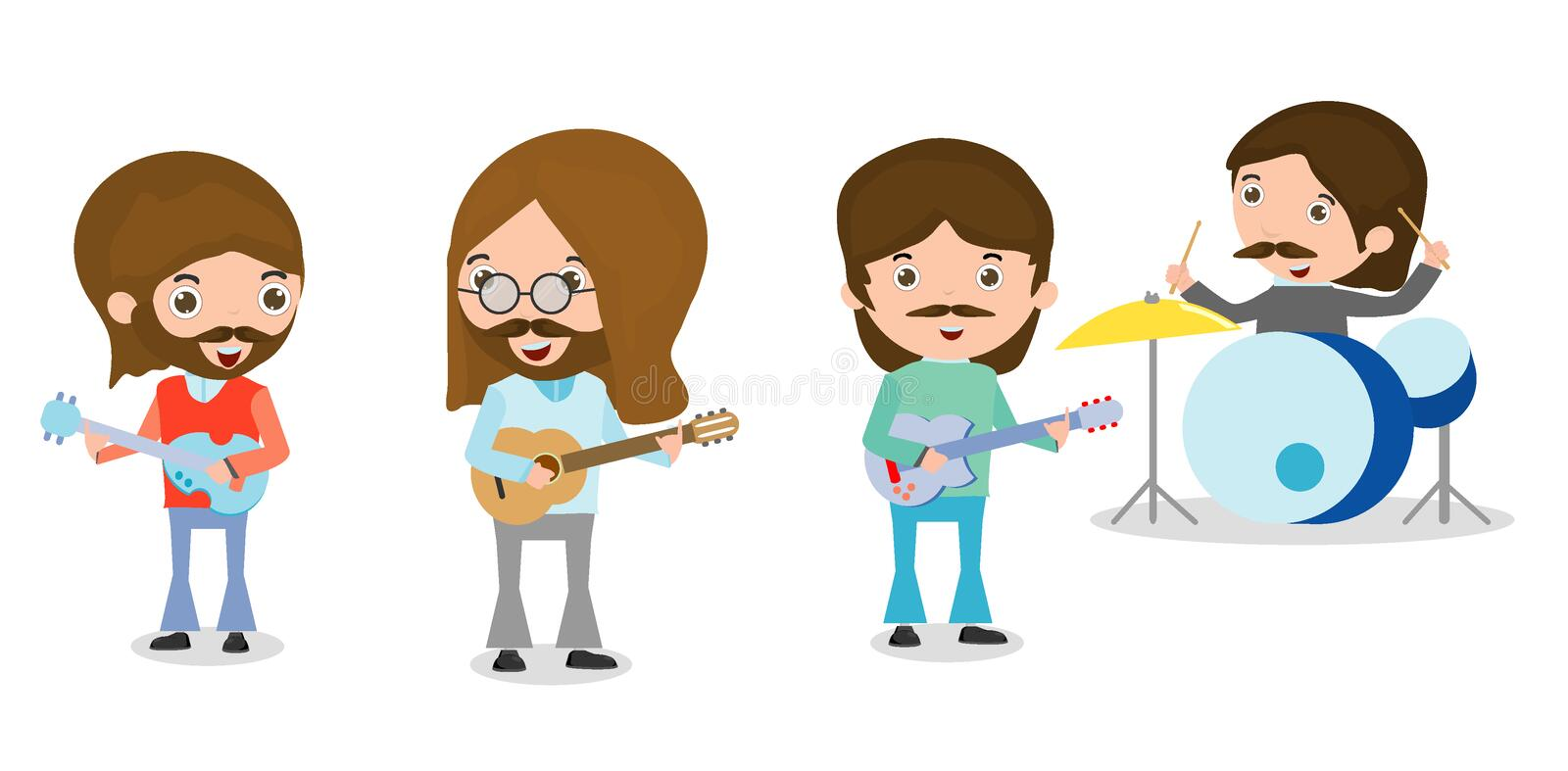 Four people in a music band on white background, Person playing Musical Instruments,illustration of young playing different. Vector illustration of four people royalty free illustration