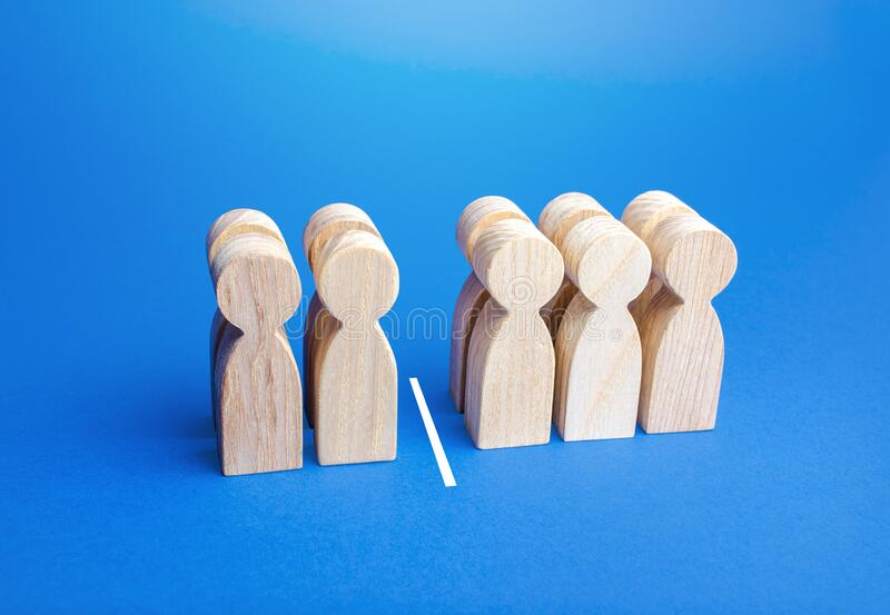 Four people out of ten, separated by a line. Visualization of statistical data. 40% of 100%. Less than half. Elections, medicine. Demography. Systematization royalty free stock image