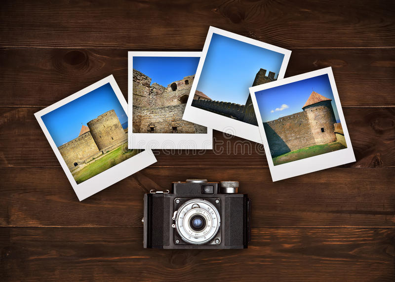 Four photos with medieval castle. Vintage camera and four photos with medieval castle royalty free stock image