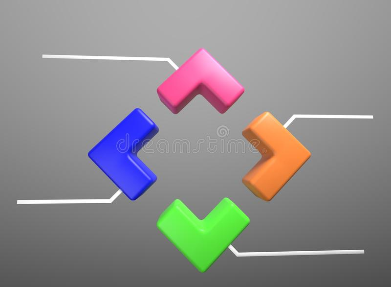 Four piece infographic presentation. 4 step business diagram. Four section. 3d illustration royalty free illustration