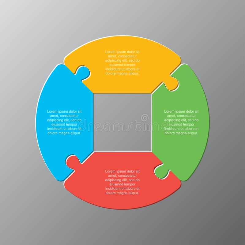 Four pieces jigsaw puzzle circles diagram graphic. Four pieces puzzle circles diagram. Circles business presentation infographic. 4 steps, parts, pieces of royalty free illustration
