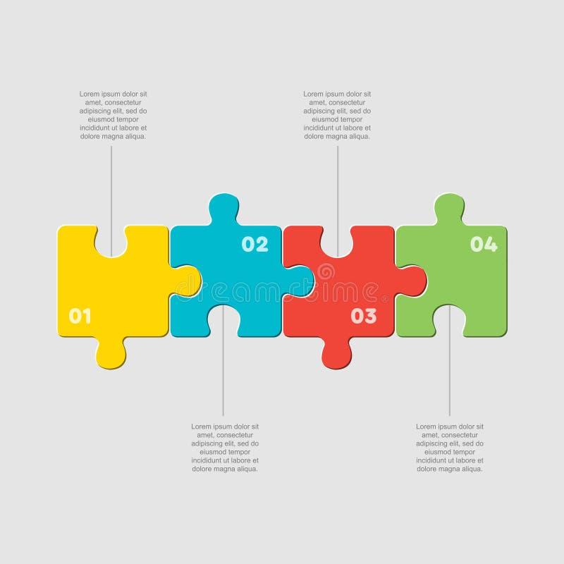 Four pieces puzzle line diagram info graphic. Four pieces puzzle squares diagram. Squares business presentation infographic. 4 steps, parts, pieces of process royalty free illustration