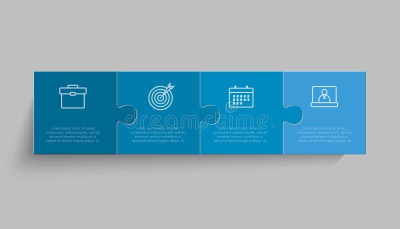 Four pieces puzzle line diagram info graphic. Four pieces puzzle squares diagram. Squares business presentation infographic. 4 steps, parts, pieces of process stock illustration
