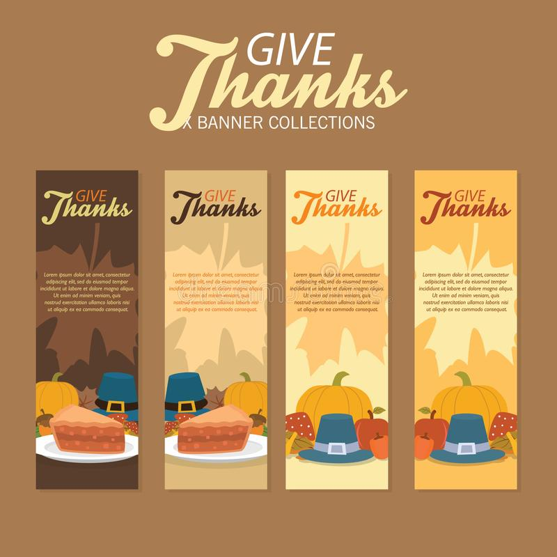 Pilgrim Thanksgiving Celebration Stand Banners Collection With Ornament and Foods stock illustration