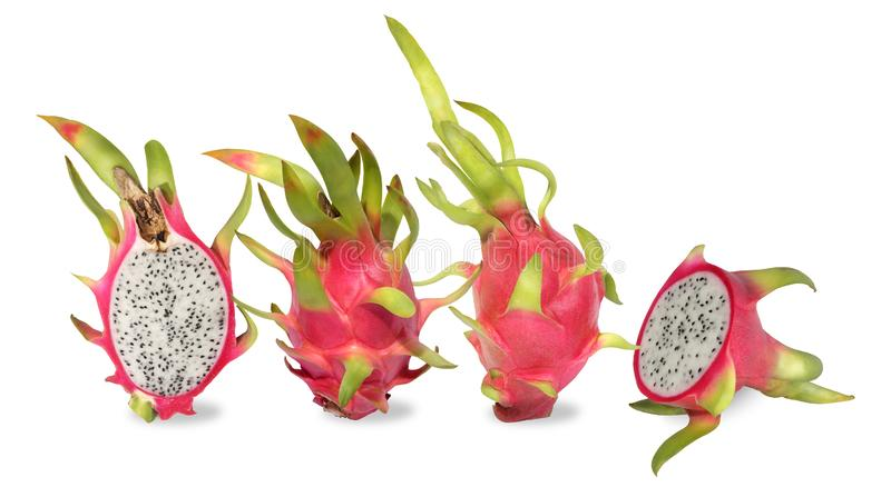Four pink dragon fruit. Fruitage of cactus is tropical fruit. royalty free stock photography