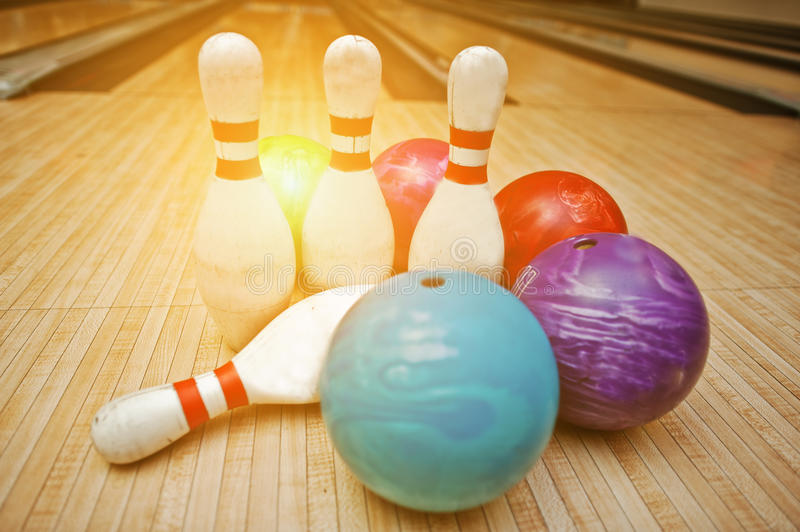 Four pins with five bowling balls.  royalty free stock images