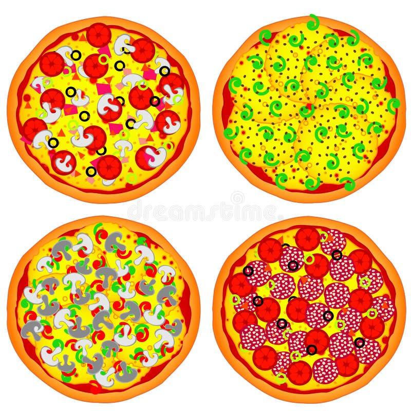 Four pizzas stock image