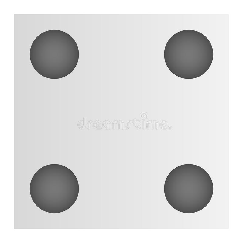 Four point dice icon, cartoon style royalty free illustration