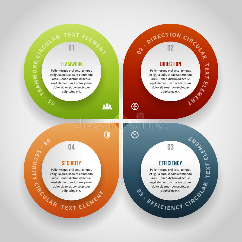 Four Points Infographic. Vector illustration of four points infographic design element royalty free illustration