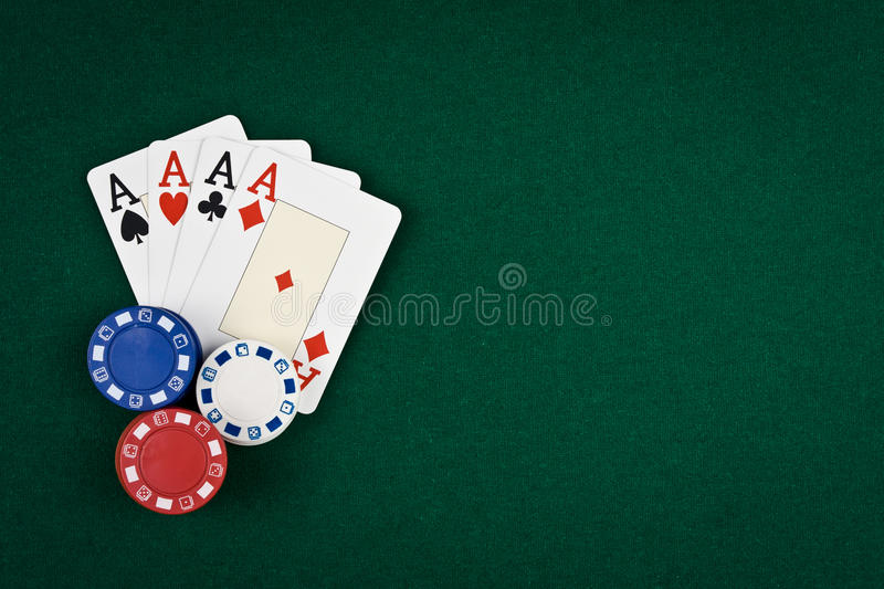 Four poker aces stock photos