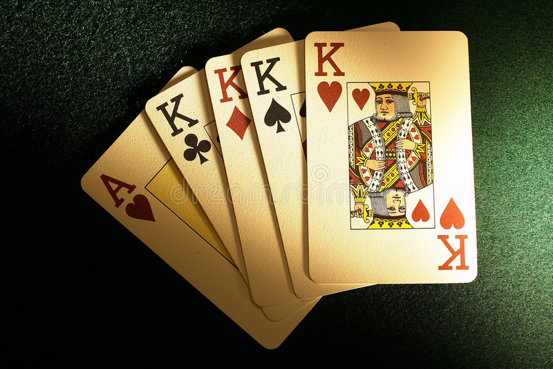 Four poker cards stock image