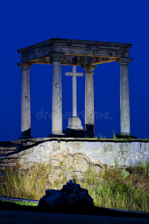The four poles at night, Avila stock photography