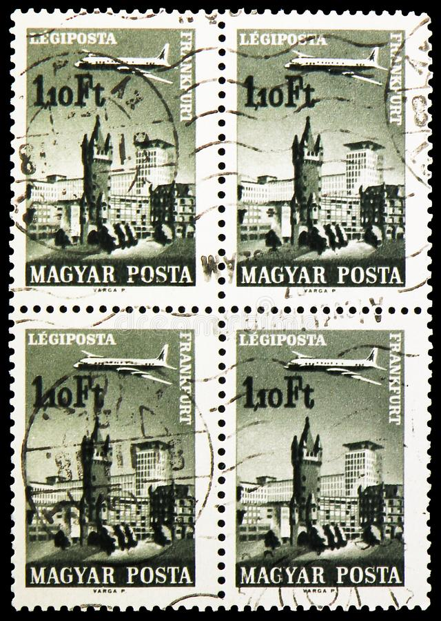 Four postage stamps printed in Hungary shows Frankfurt, Airpost, Plane over Cities served by Hungarian Airways serie, circa 1966. MOSCOW, RUSSIA - SEPTEMBER 27 stock photography