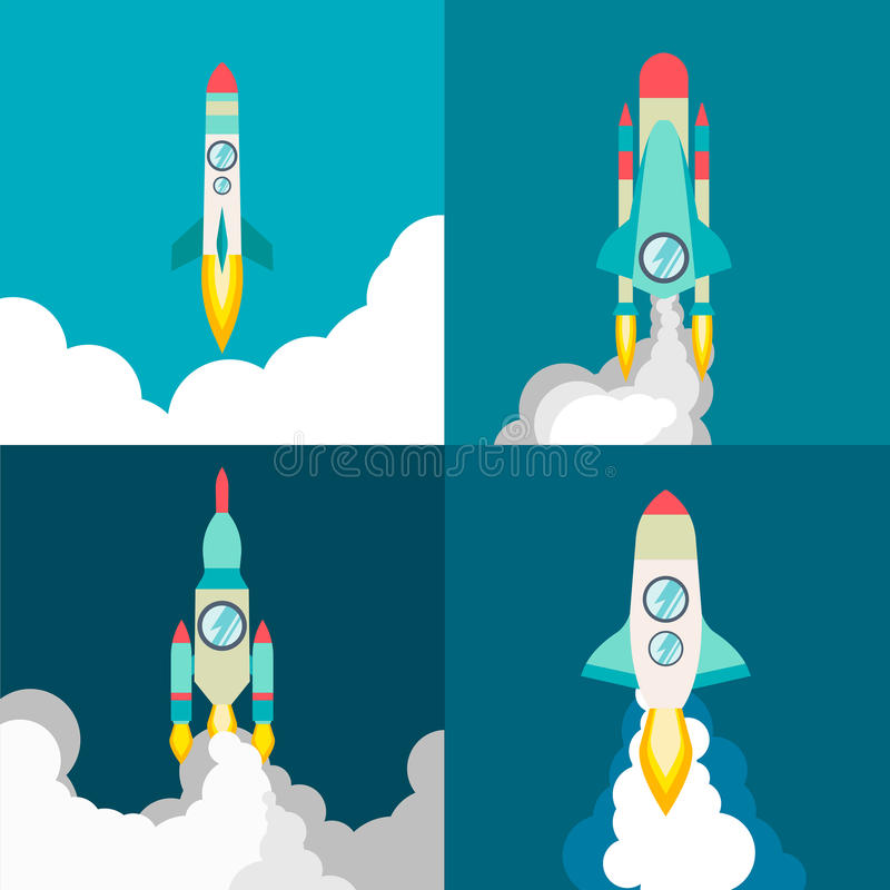 Four poster of rocket ship in a flat style. Space travel to the cosmos. Project start up and development process vector illustration
