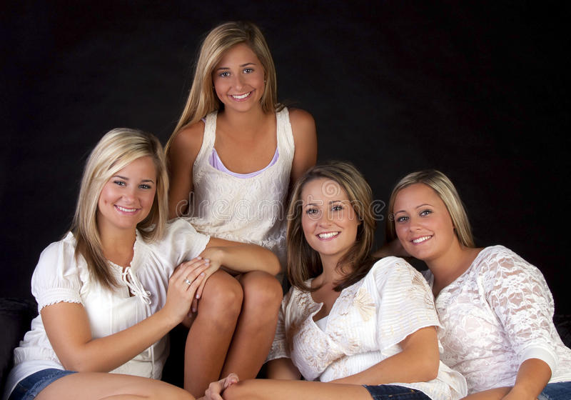 Download Four pretty sisters stock photo. Image of family, females - 16535698