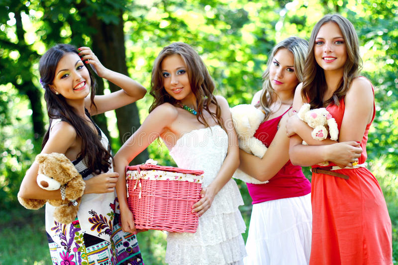 Download Four Pretty Young Caucasian Women In The Park Stock Image - Image: 25854447