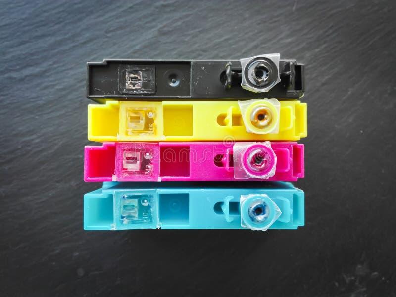 Printer colors cyan, magenta, yellow, black. Four Printer colors cyan, magenta, yellow, black royalty free stock images