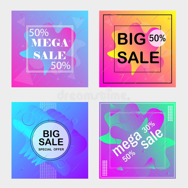 Four promotional discount banners with light violet and blue colors. Vector stock illustration