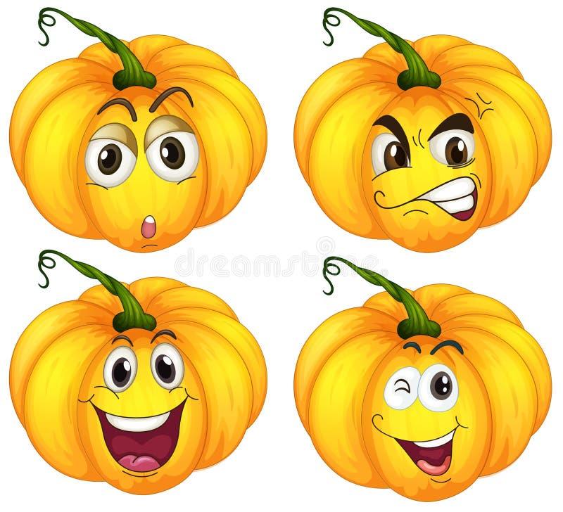 Download Four pumpkins stock illustration. Image of clipart, emotion - 36429021