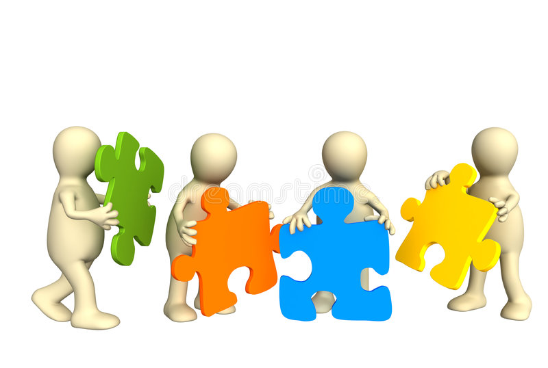 Four Puppets, Holding In Hands A Puzzle Stock Image