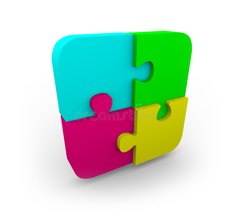 Four Puzzle Pieces Fit Together. Four different colored puzzle pieces fit together on white background stock illustration