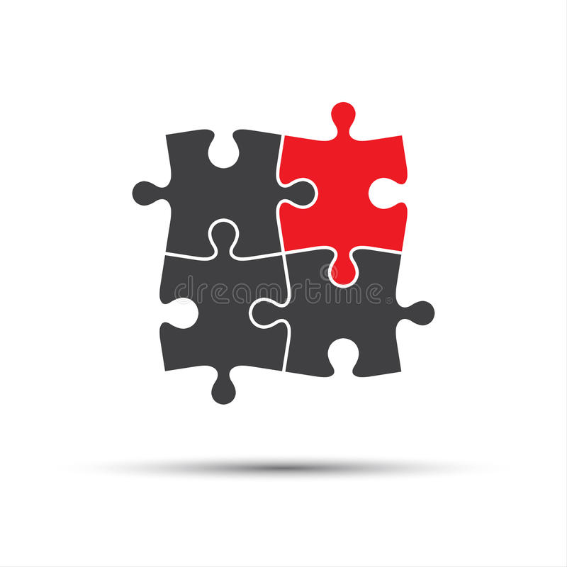 Four puzzle pieces, one red and three gray vector illustration