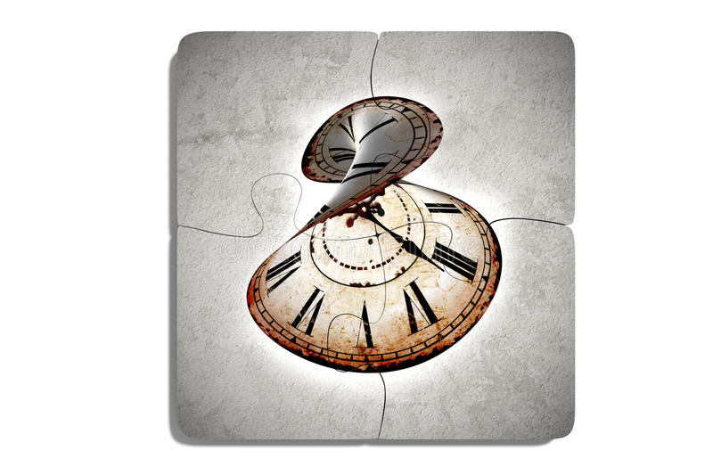 Four puzzle pieces with twisted clock stock illustration