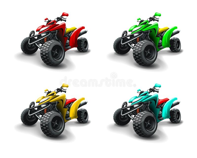 Four quad bikes in different colours. HiRes, Vector EPS10 file. 100% Layered and editable. Good for all sizes royalty free illustration