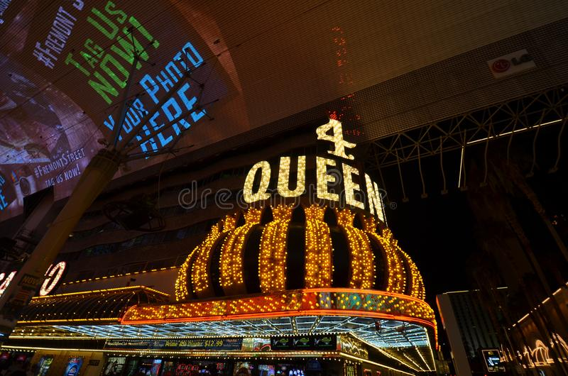 Four Queens, Fremont Street, landmark, night, light, metropolis. Four Queens, Fremont Street is landmark, metropolis and city. That marvel has night, lighting royalty free stock photo